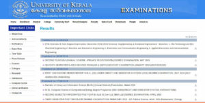 Kerala University BA/BCom/BSc/BCA/BBA Result - Degree Results