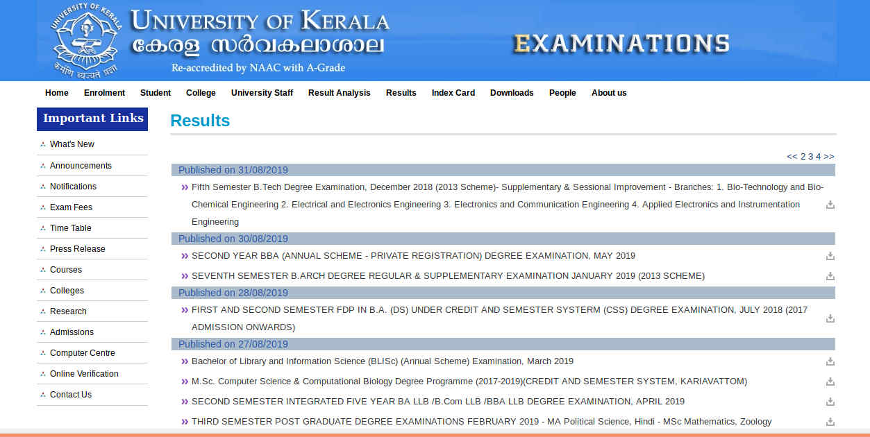 Kerala University BA/BCom/BSc/BCA/BBA Result 2019 (Published