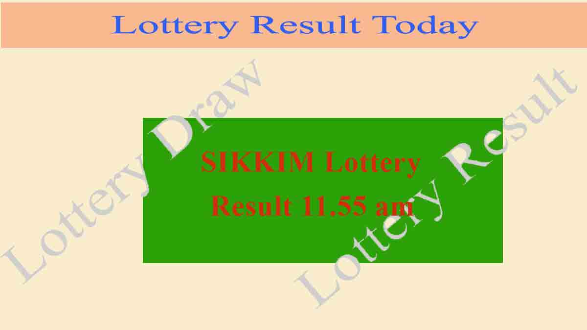 Lottery Sambad 31.12.2019 Sikkim Lottery Result (11.55 am)