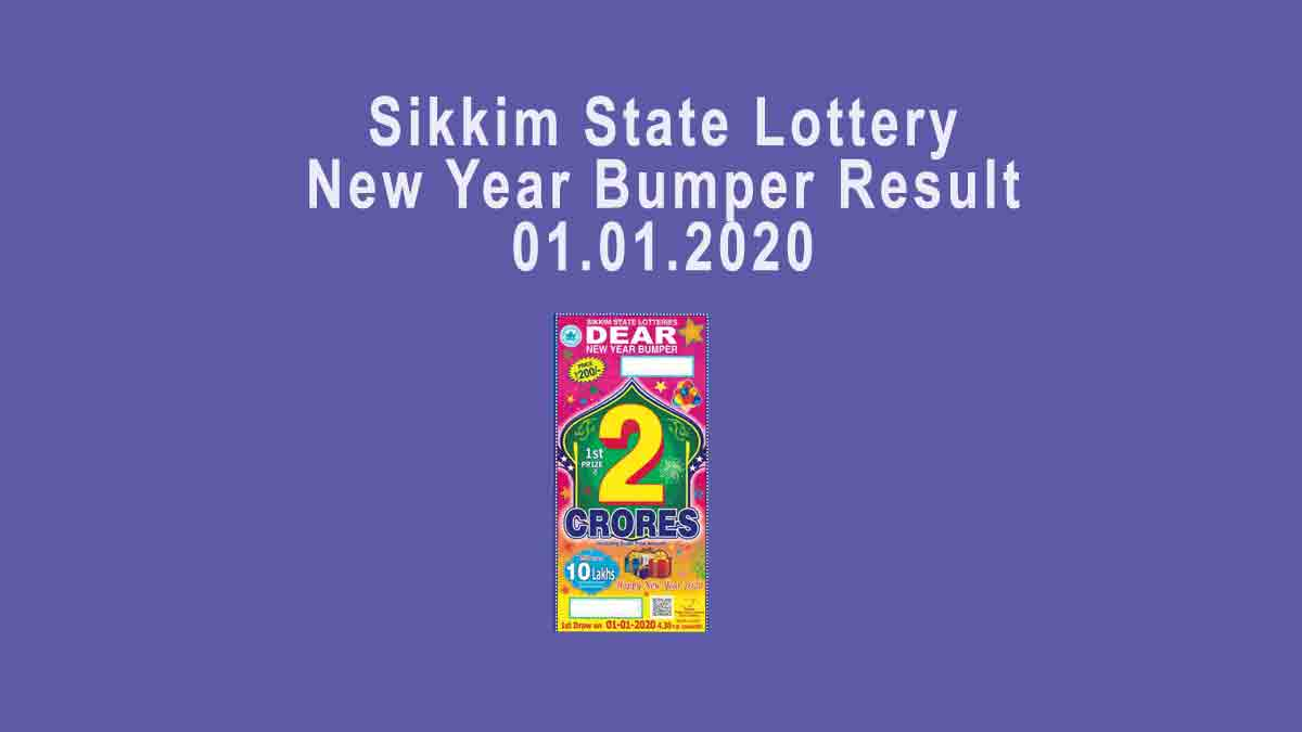 Sikkim New Year Bumper Result 01.01.2020 (4.30 pm )-Dear Sambad Lottery