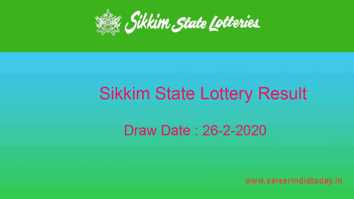 Lottery Sambad 26.2.2020 Sikkim Lottery Result (11.55 am)