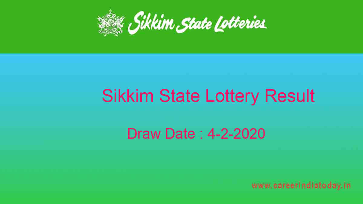 Sikkim State Lottery Result 4.2.2020 Lottery Sambad (11.55 am)