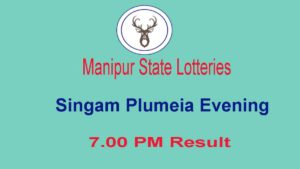 Manipur Singam 7 PM Lottery Result - Plumeia Evening Result