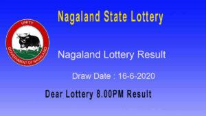 Lottery Sambad 8 PM Nagaland Lottery Result 16.6.2020