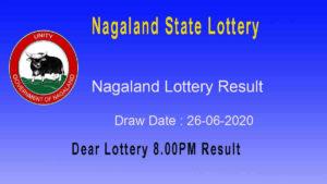 Lottery Sambad 8 PM Result 26.06.2020- Nagaland State Lottery