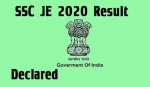 SSC JE 2020 paper 2 result