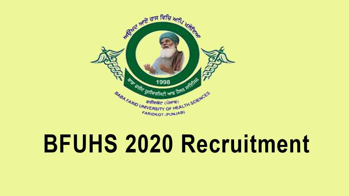 BFUHS Staff Nurse 2020 Recruitment – Apply Online @ bfuhs.ac.in