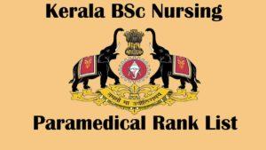 Kerala Bsc Nursing 2020 Rank List