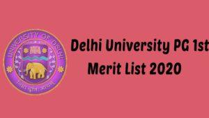 DU PG 1st Merit List 2020