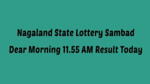 Nagaland Lottery Sambad Dear Morning (11:55 AM) Result 29.01.2021